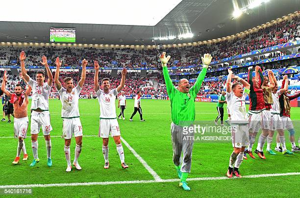 Hungary's players celebrate at the end of the Euro 2016 group F football match between Hungary and Austria at the Matmut Atlantique stadium in...