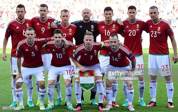 Hungary's players pose ahead of the Euro 2016 group F football match between Hungary and Portugal at the Parc Olympique Lyonnais stadium in...