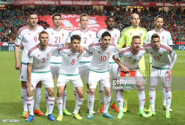 Hungary's players pose for a team photo before the start of the FIFA 2018 World Cup Qualifier match between Portugal and Hungary at Estadio da Luz on...