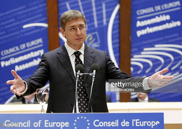 Hungary's Prime Minister Ferenc Gyurcsany adresses the Parliamentary Assembly of the Council of Europe 22 January 2008 in Strasbourg AFP PHOTO...