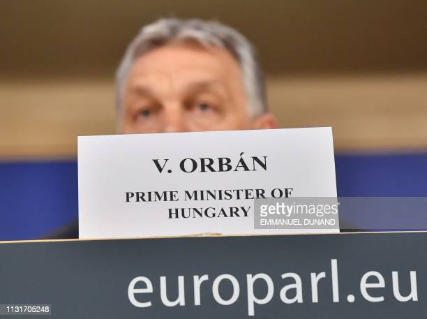 Hungary's Prime Minister Victor Orban addresses a press conference at the end of a European People's Party meeting at the European Parliament in...