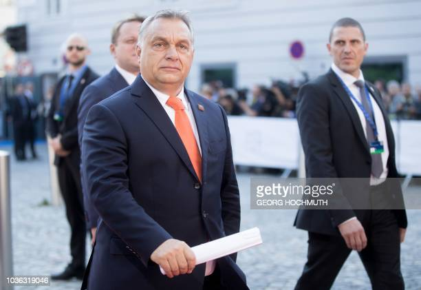 Hungary's Prime Minister Viktor Orban arrives at the Mozarteum University to attend a plenary session part of the EU Informal Summit of Heads of...