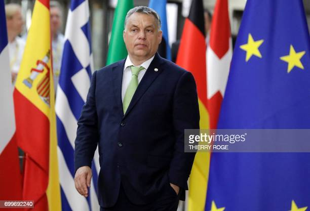 Hungary's Prime Minister Viktor Orban arrives for an European Union leaders summit at the European Council in Brussels on June 22 2017 / AFP PHOTO /...