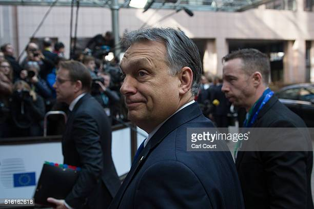 Hungary's Prime Minister Viktor Orban arrives on the first day of an EU summit at the Council of the European Union on March 17 2016 in Brussels...