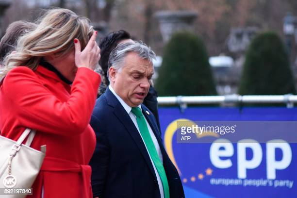 Hungary's Prime minister Viktor Orban arrives to attend a meeting of the European People's Party in Brussels on December 14 ahead of a summit of...