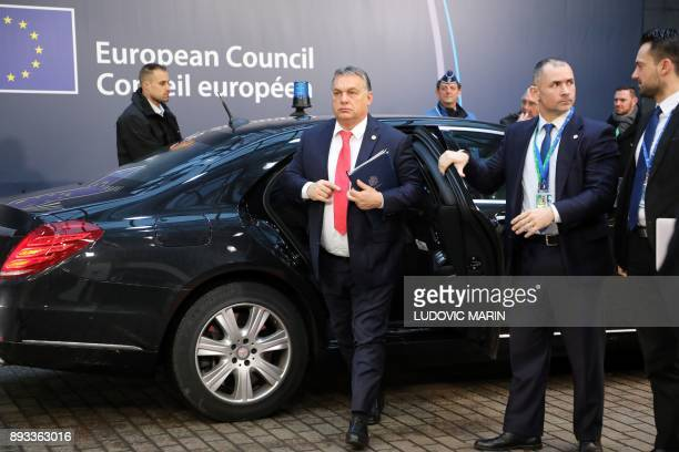 Hungary's Prime Minister Viktor Orban arrives to attend an EU summit at which 27 European leaders are to approve opening the next phase of Brexit...