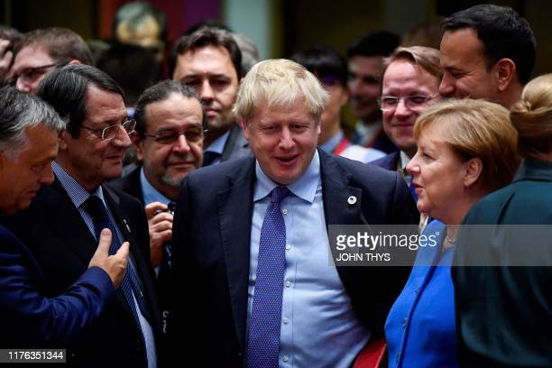 Hungary's Prime minister Viktor Orban Cyprus' President Nicos Anastasiades Britain's Prime Minister Boris Johnson and Germany's Chancellor Angela...