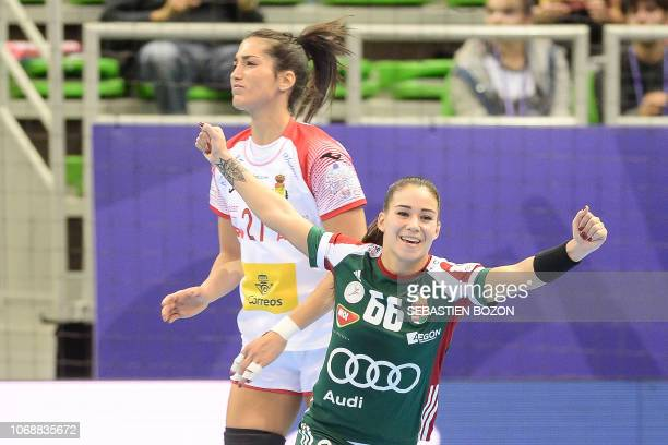 Hungary's right wing Viktoria Lukacs celebrates during Women Euro 2018 handball Championships group C preliminary round match between Hungary and...