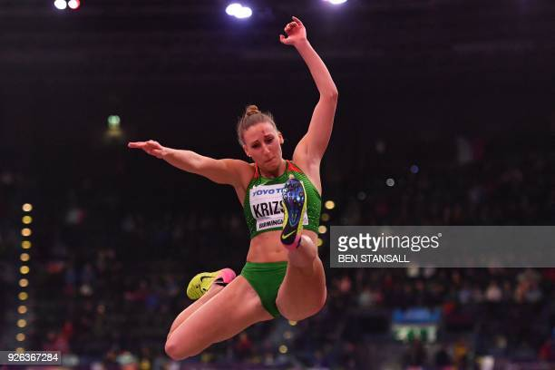 Hungary's Xenia Krizsan competes in the women's long jump pentathlon event at the 2018 IAAF World Indoor Athletics Championships at the Arena in...