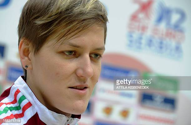 Hungary's Zsuzsanna Tomori answers a journalist' questions on the media day of the 2012 EHF European Women's Handball Championship on December 14...