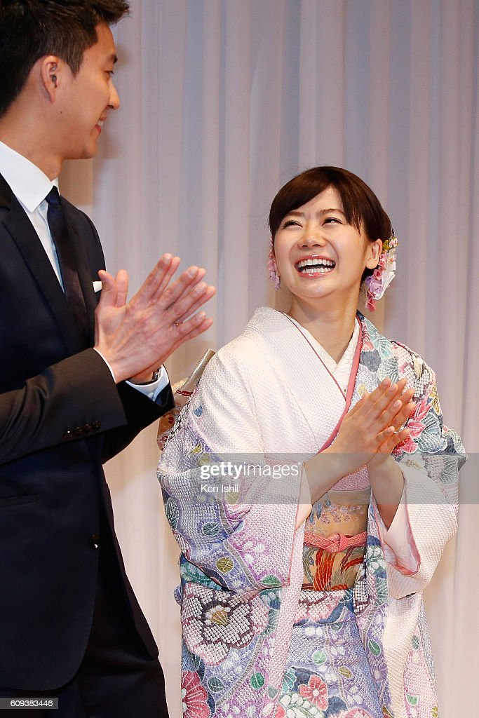 Hung-Chieh Chiang of Chinese Taipei and Ai Fukuhara of Japan attend press conference on September 21, 2016 in Tokyo, Japan. Japanese table tennis player Ai Fukuhara recently married Taiwanese table tennis player Hung-Chieh Chiang.