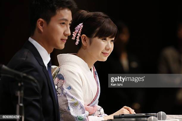 Hung-Chieh Chiang of Chinese Taipei and Ai Fukuhara of Japan speaks to the press on September 21, 2016 in Tokyo, Japan. Japanese table tennis player...
