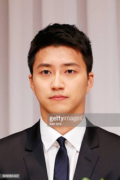 Hung-Chieh Chiang of Chinese Taipei attends press during press conference on September 21, 2016 in Tokyo, Japan. Japanese table tennis player Ai...