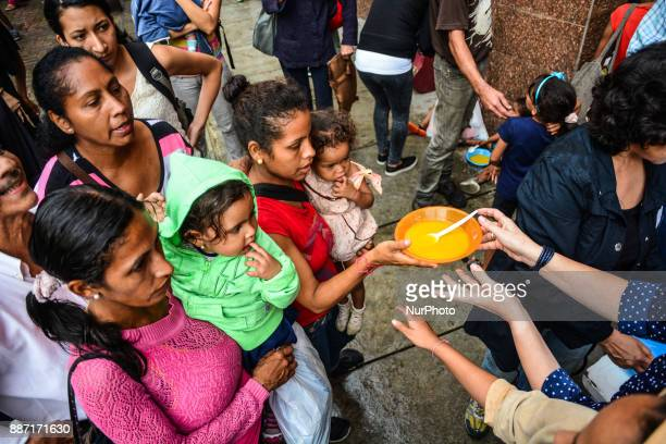 Hunger in Venezuela has worsened nongovernmental organizations and the Catholic Church have held food aid days to help people and children living on...