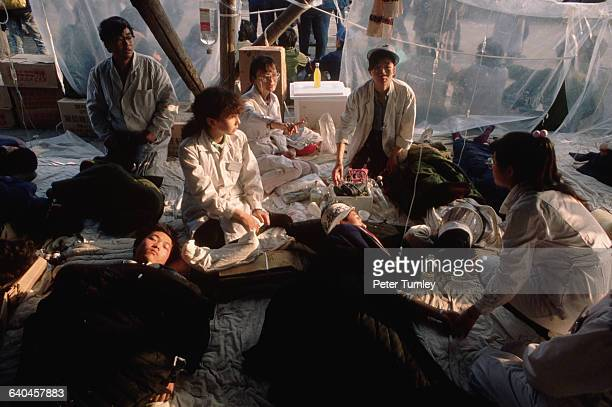 Hunger strikers lie in tents in Tiananmen Square at during the prodemocracy protests The Chinese government eventually answered the protests with...