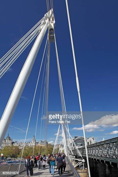 Hungerford Bridge, Whitehall Court and Charing Cross Station, City of Westminster, London, England