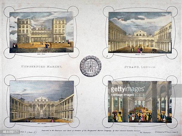 Hungerford Market Westminster London c1835 Four views of Hungerford Market showing the River front Strand front fish market and hall The new...