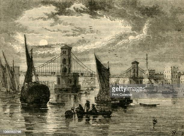 Hungerford Suspension Bridge 1850' View of the bridge and boats on the River Thames in London with Nelson's Column in the distance The bridge was...