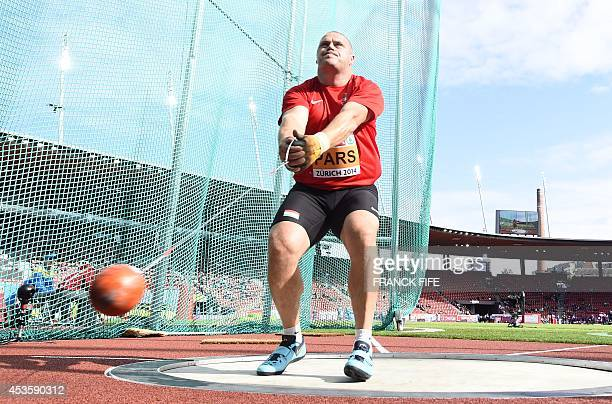 Hungria's Krisztian Pars competes in the Men's Hammer Throw qualification round during the European Athletics Championships at the Letzigrund stadium...