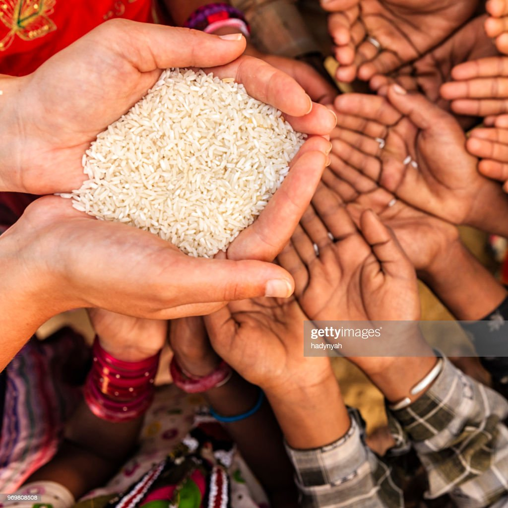 Hungry African children asking for food, Africa : Stock Photo
