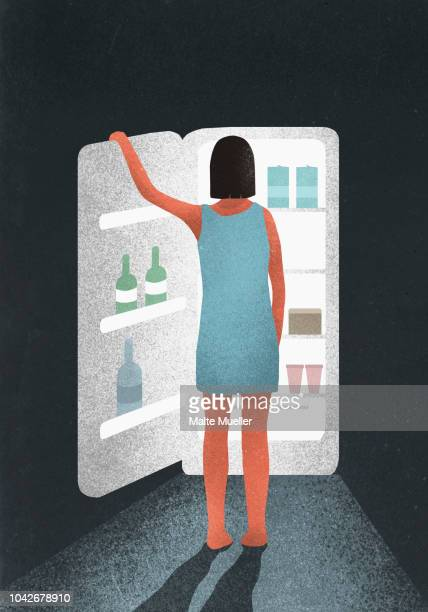 hungry woman standing at open refrigerator - illustration stock pictures, royalty-free photos & images