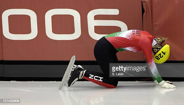 Hungry's Rozsa Darazs takes a fall in the Womens 500 M Short Track event at the Palavela venue in Torino Italy on February 12 2006