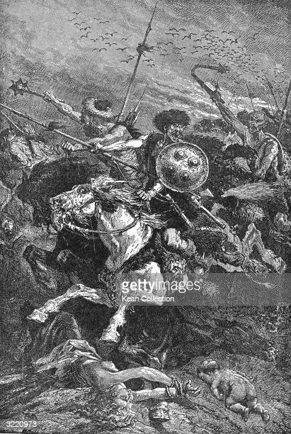 Huns under the command of Attila ride into battle armed with fierce expressions backed by spears and maces Chalons France 451 Among their victims are...