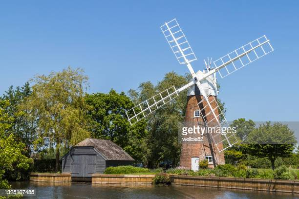 hunsett windmill on the norfolk broads - norfolk england stock pictures, royalty-free photos & images