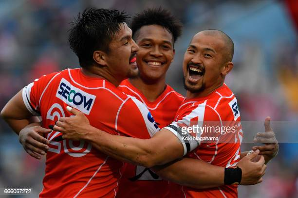 hunsuke Nunomaki and Kotaro Matsushima and Yuki Yatomi celebrate after winning the Super Rugby Rd 7 match between Sunwolves v Bulls at Prince...