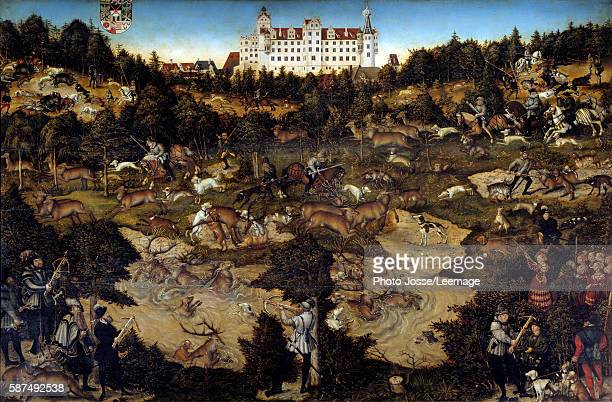 Hunt in honour of Charles Quint at the Hartenfels Castle near Torgau Painting by Lucas Cranach the Elder oil on wood14 x 175 m Prado Museum Madrid...