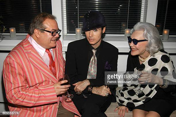 Hunt Slonem Patrick McDonald and Anne Slater attend PLEASURE PALACES THE ART AND HOMES OF HUNT SLONEM Private Reception at Hudson Hotel Penthouse on...