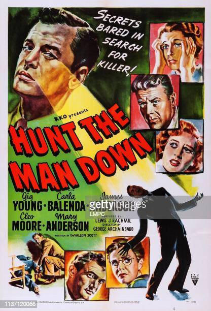 Hunt The Man Down poster US poster Gig Young right from top Mary Anderson Willard Parker Lynne Roberts James Anderson 1950