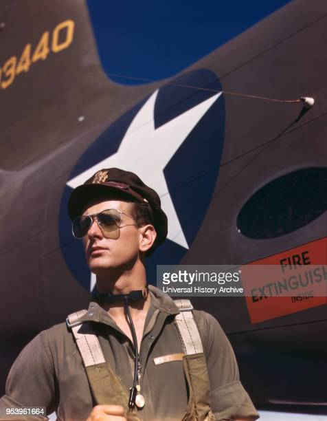 Hunter, Army Test Pilot, Douglas Aircraft Company, Long Beach, California, USA, Alfred T. Palmer for Office of War Information, October 1942.