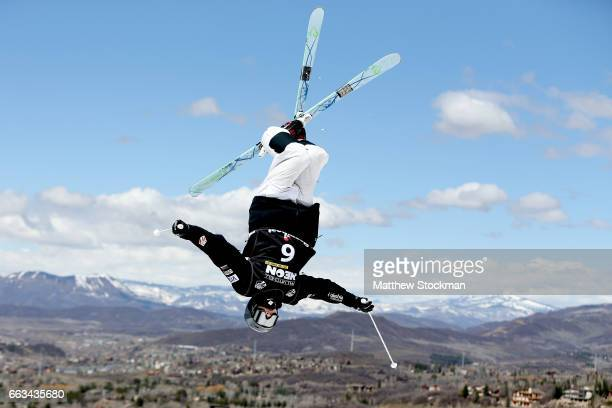 Hunter Bailey competes in the big final of the men's dual moguls during the US Freestyle Championships at Steamboat Resort on April 1 2017 in...