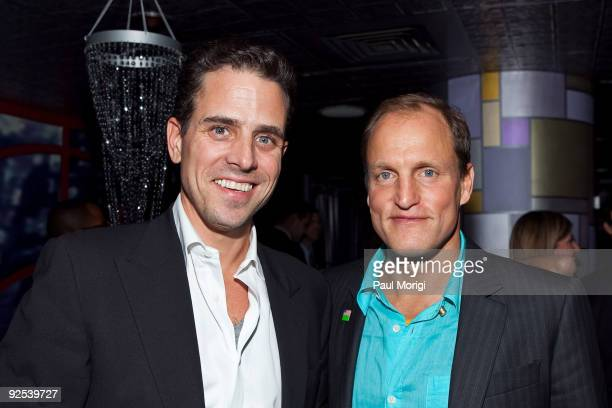 Hunter Biden and actor Woody Harrelson pose for a photo at the after party following the 2nd Annual IMPACT Film Festival's screening of The Messenger...
