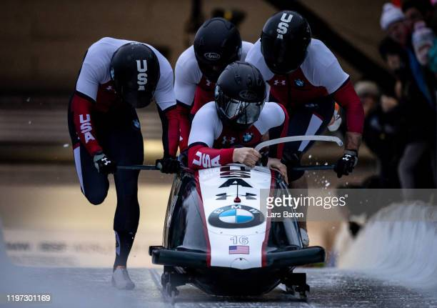 Hunter Church, Joshua Williamson, James Reed and Kristopher Horn of USA compete during the BMW IBSF Bobsleight World Cup at Veltins Eis-Arena on...