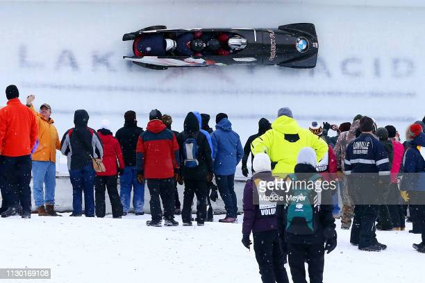 Hunter Church Kyler Allison Christopher Kinney and Kyle Wilcox of the United States compete during the first run of the 4man bobsleigh competition on...