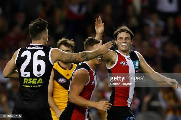 Hunter Clark of the Saints celebrates a goal during the round seven AFL match between the St Kilda Saints and the Hawthorn Hawks at Marvel Stadium on...