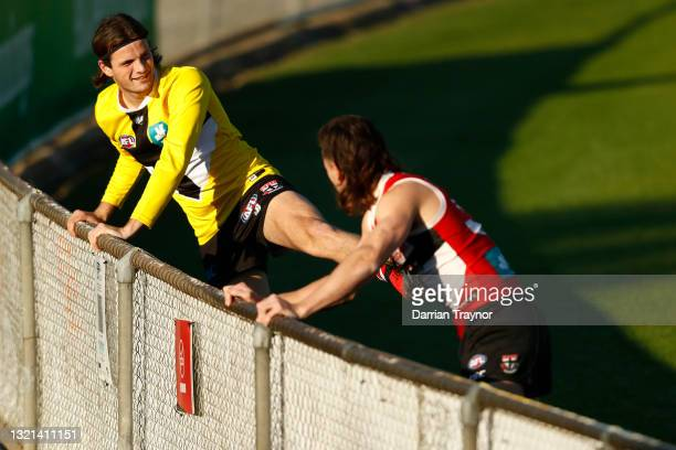 Hunter Clark of the Saints stretches during a St Kilda Saints AFL training session at RSEA Park on June 03, 2021 in Melbourne, Australia.