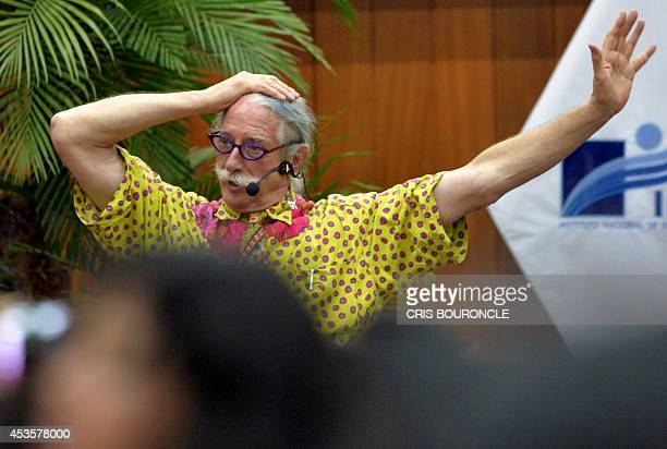 Hunter Doherty the US' physician and clown who inspired the movie Patch Adams starring Robin Williams gestures during a meeting with support groups...