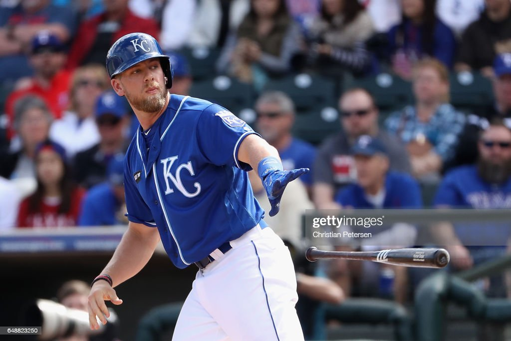 Hunter Dozier #17 of the Kansas City Royals draws a walk against the Texas Rangers during the spring training game at Surprise Stadium on February 26, 2017 in Surprise, Arizona.