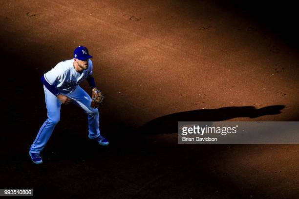 Hunter Dozier of the Kansas City Royals gets set for the pitch during the first inning against the Boston Red Sox at Kauffman Stadium on July 7 2018...