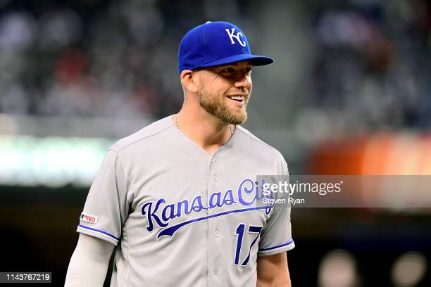 Hunter Dozier of the Kansas City Royals in action against the New York Yankees at Yankee Stadium on April 18 2019 in New York City The Royals...