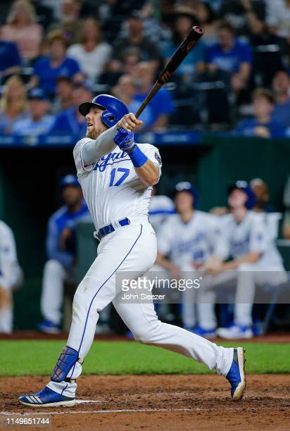 Hunter Dozier of the Kansas City Royals in the fifth inning during the game against the Texas Rangers at Kauffman Stadium on May 15 2019 in Kansas...