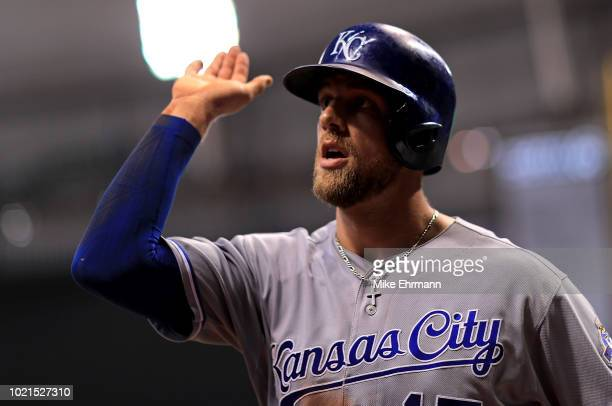 Hunter Dozier of the Kansas City Royals is congratulated after hitting a two run home run in the eighth inning during a game against the Tampa Bay...