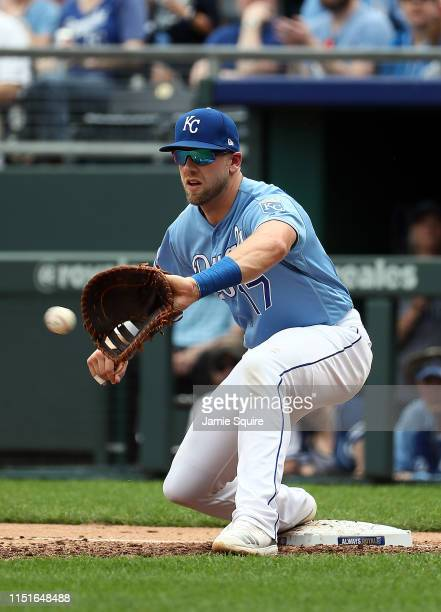 Hunter Dozier of the Kansas City Royals makes a play at first base during the game against the New York Yankees at Kauffman Stadium on May 25 2019 in...
