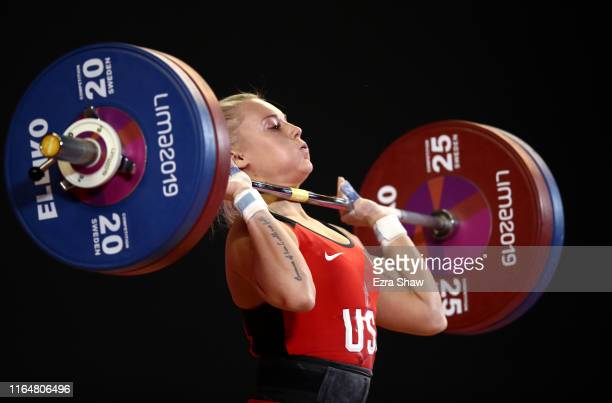 Hunter Elam of the United States competes in the women's weightlifting 59kg competition on Day 2 of the Lima 2019 Pan American Games at Mariscal...