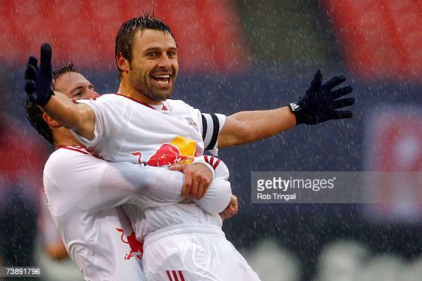 Hunter Freeman and Dema Kovalenko of the New York Red Bulls celebrate after their second goal against the FC Dallas at Giants Stadium in the...