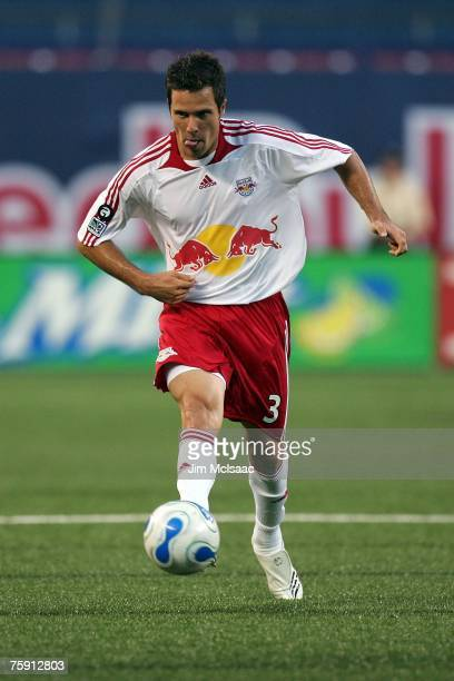 Hunter Freeman of the New York Red Bulls handles the ball against the New England Revolution on July 14 2007 at Giants Stadium in East Rutherford New...