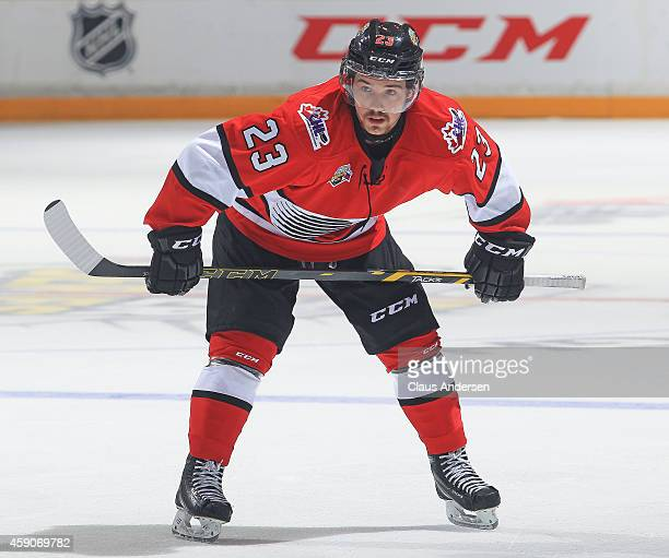 Hunter Garlent of Team OHL waits for a faceoff against Team Russia during the 2014 Subway Super Series at the Peterborough Memorial Centre on...